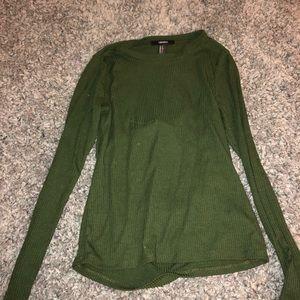 Open back green long sleeve